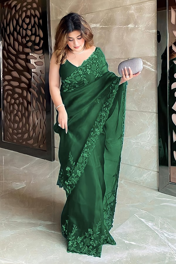 Floral Embroidered organza sarees Green.