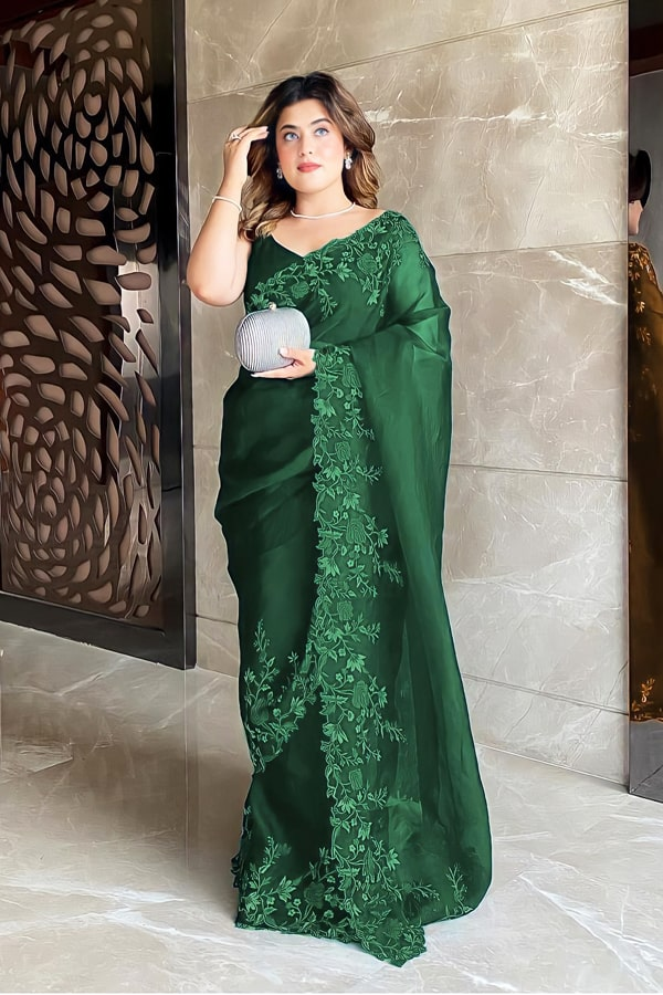 Floral Embroidered organza sarees Green