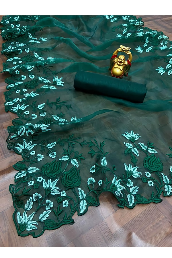 Floral Embroidered organza sarees