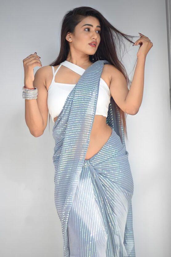 Garima chaurasia in saree grey 2021