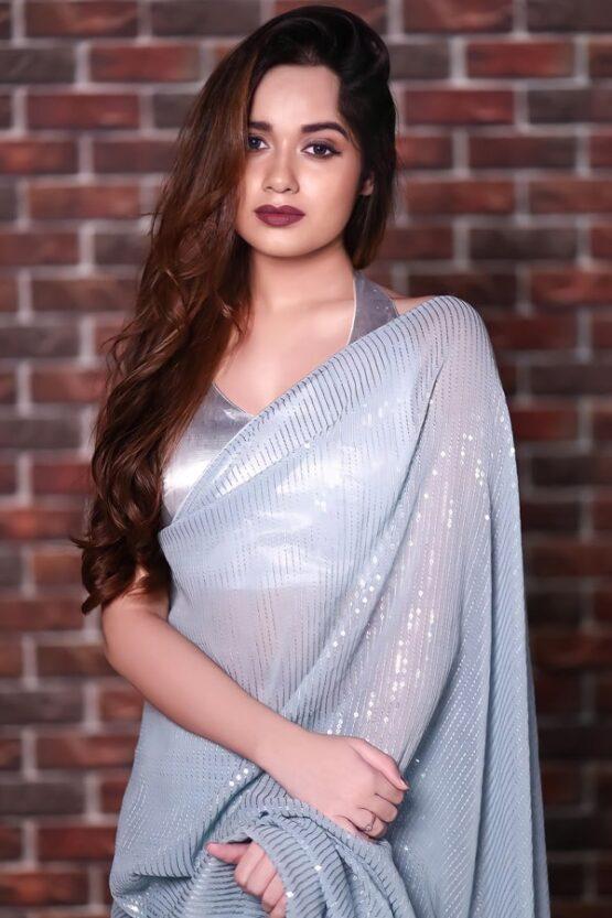 Jannat zubair in saree Grey Sequence 2021