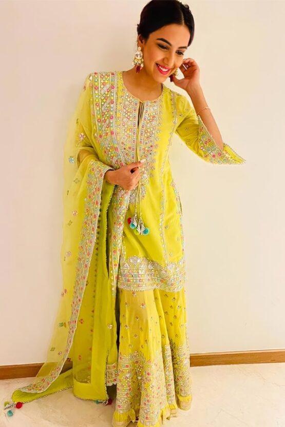 Jasmin bhasin Yellow sharara plazzo dress