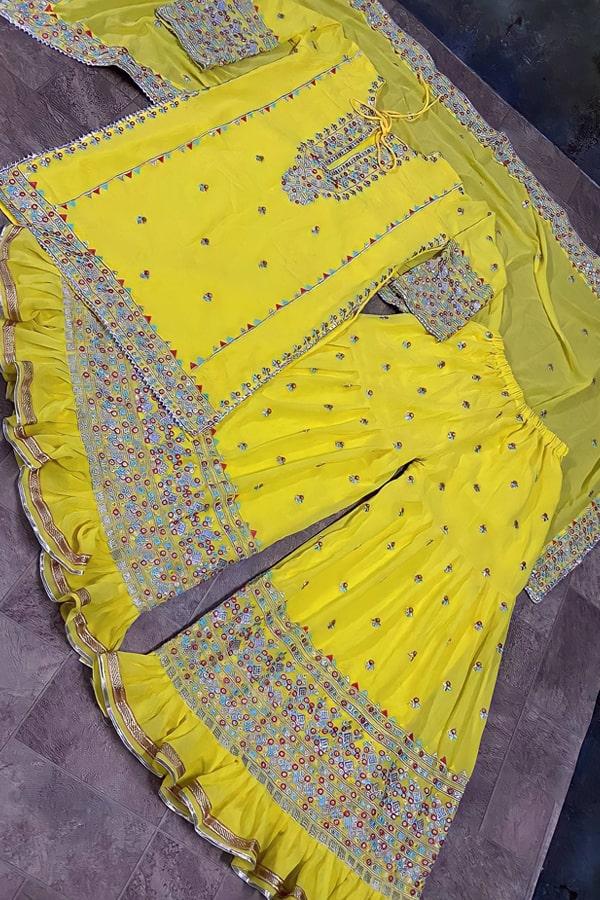 Jasmin bhasin Yellow sharara plazzo.