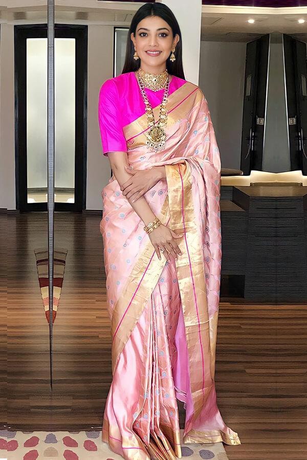 Kajal agarwal latest Banarasi saree Pink (2)