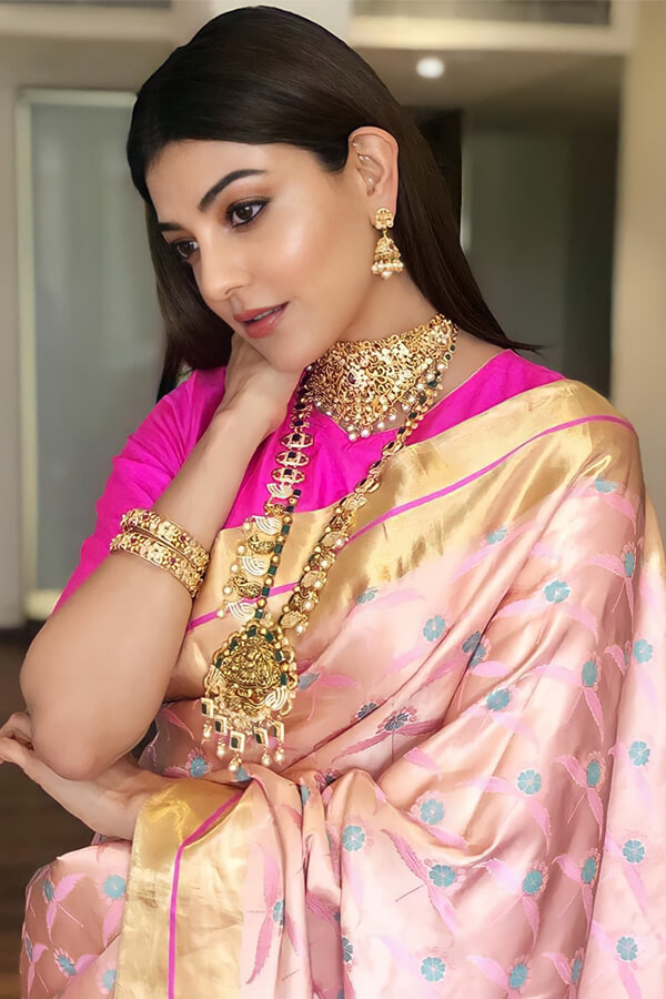 Kajal agarwal latest Banarasi saree Pink