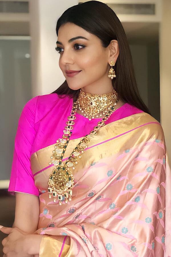 Kajal agarwal new latest Banarasi saree Pink. (2)