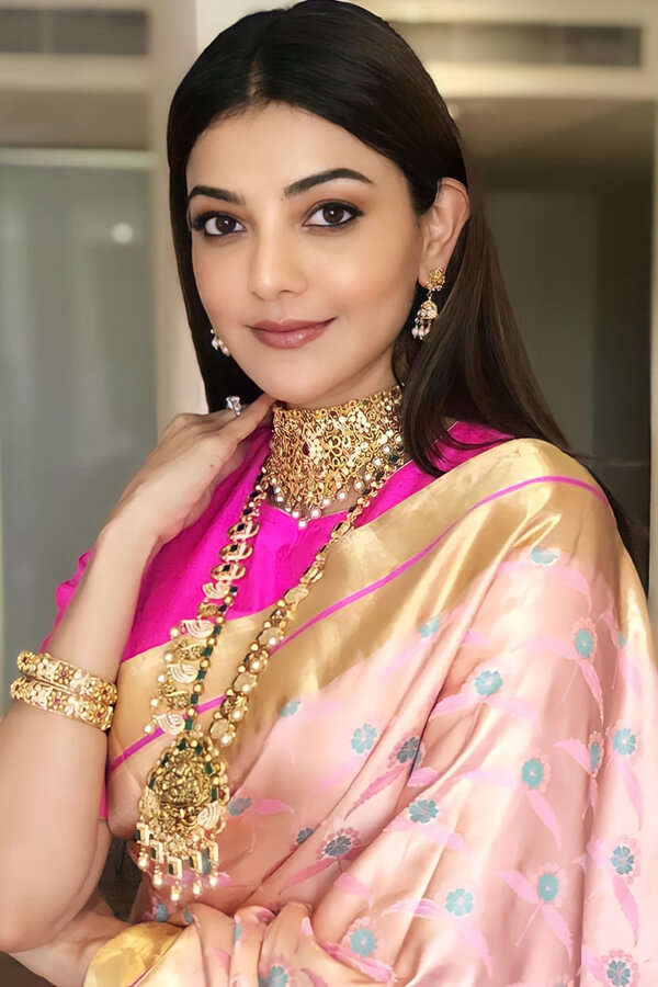 Kajal agarwal new latest Banarasi saree Pink.
