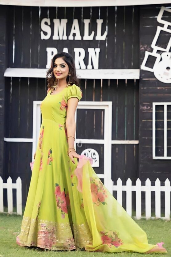 Latest Party wear Long gown for girls 2021 Yellow