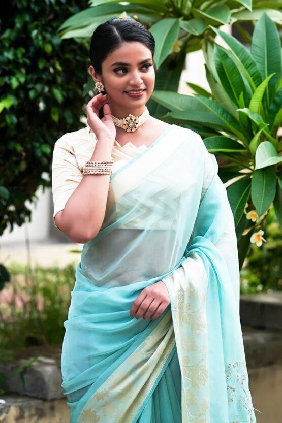 Latest Partywear new saree designs 2021 blue.