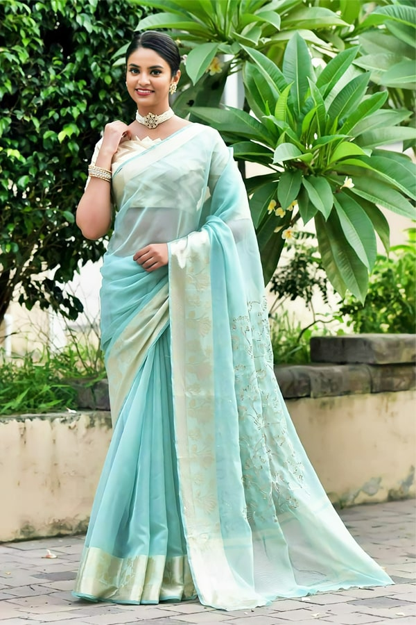 Latest Partywear new saree designs 2021 blue