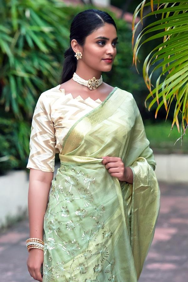 Latest Partywear new saree designs 2021 green