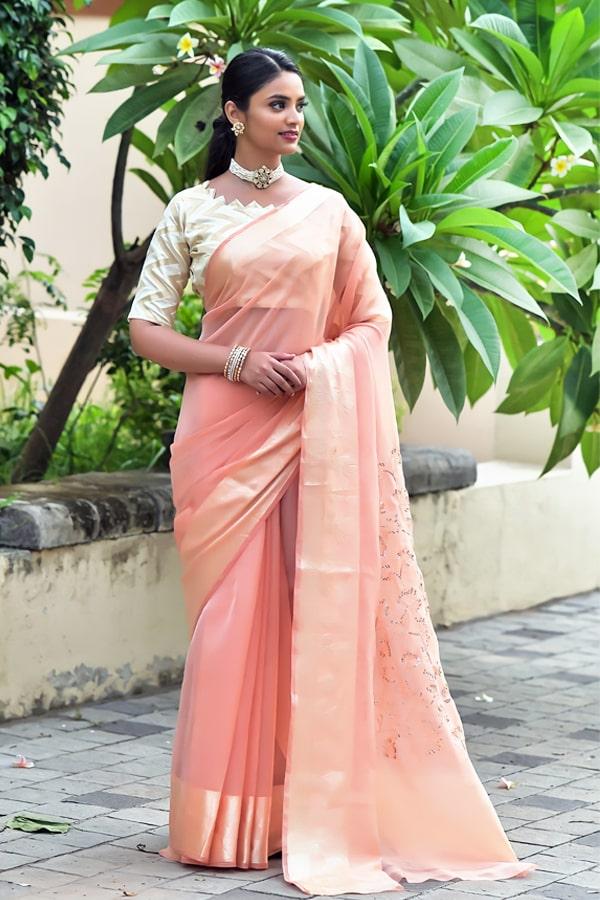 Latest Partywear new saree designs 2021 peach