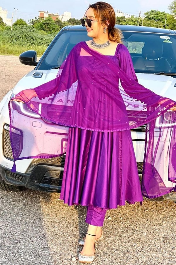 Latest anarkali suit design 2021 Purple