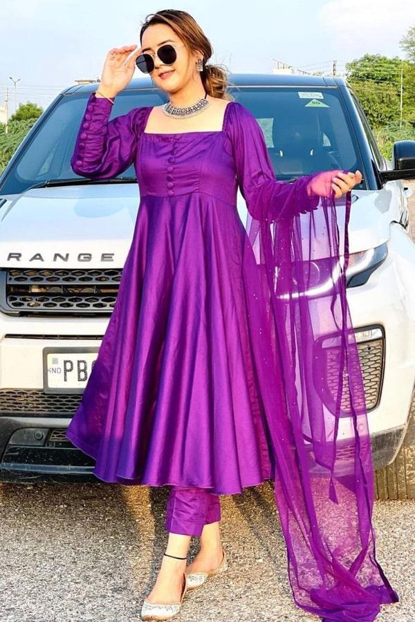 Latest anarkali suit design 2021 purple (2)