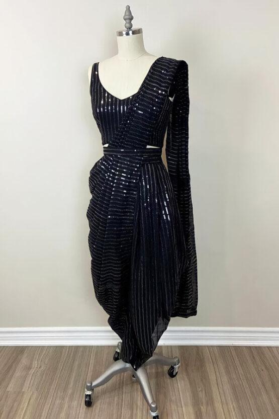 Latest sequence saree design 2021 Wedding black