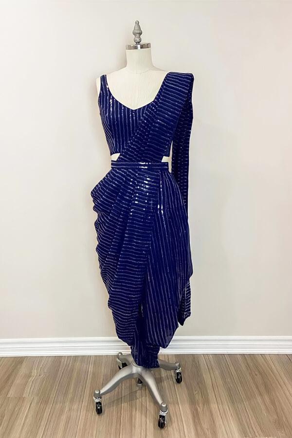 Latest sequence saree design 2021 Wedding blue