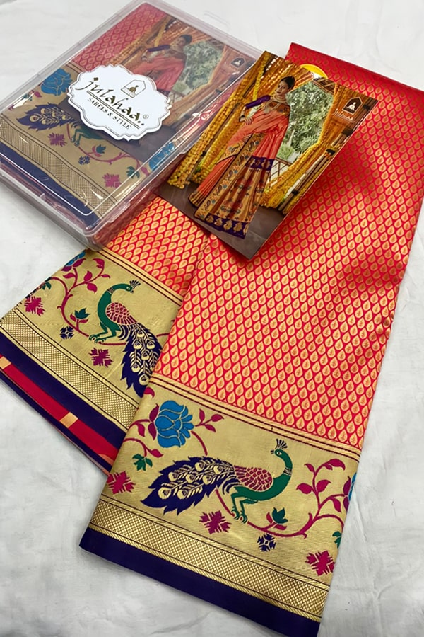 Marathi wedding paithani saree orange