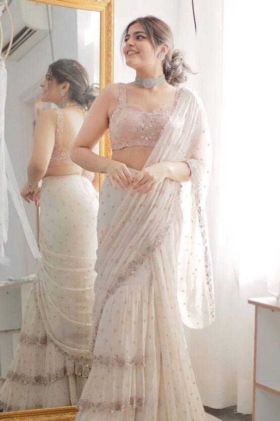 Modern twist ruffle saree 3 layers off White