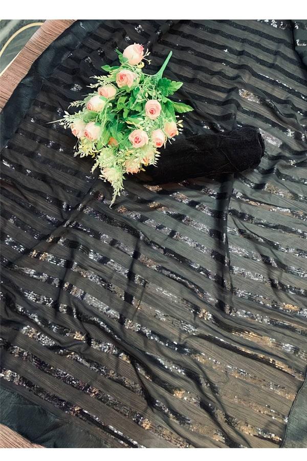 Mouni Roy black Sequence saree buy online