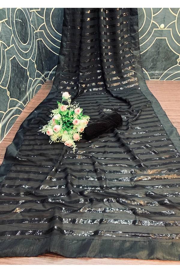 Mouni Roy black Sequence saree buy