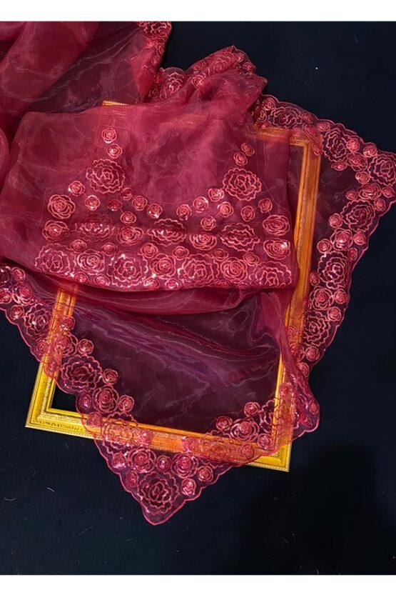 Organza saree C-pallu with Sequence work Red (2)
