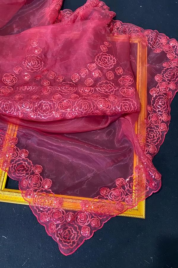 Organza saree C-pallu with Sequence work Red