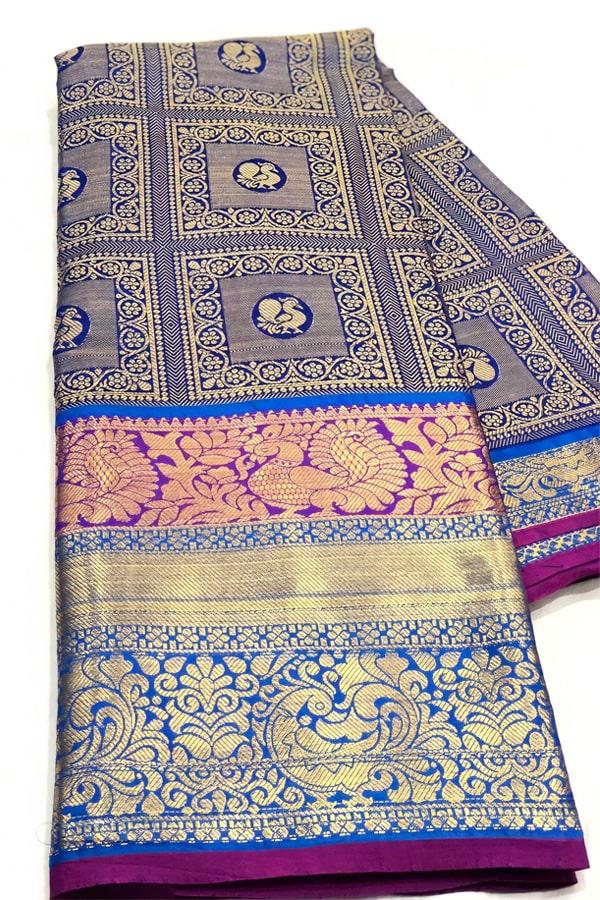 Original kanchipuram silk sarees with price 2021 blue