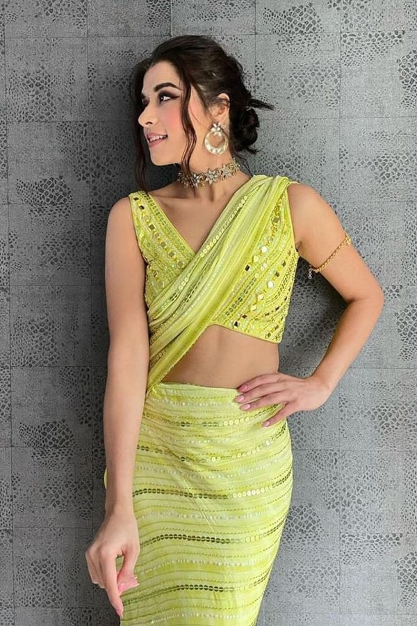Party wear latest saree design 2021 Yellow