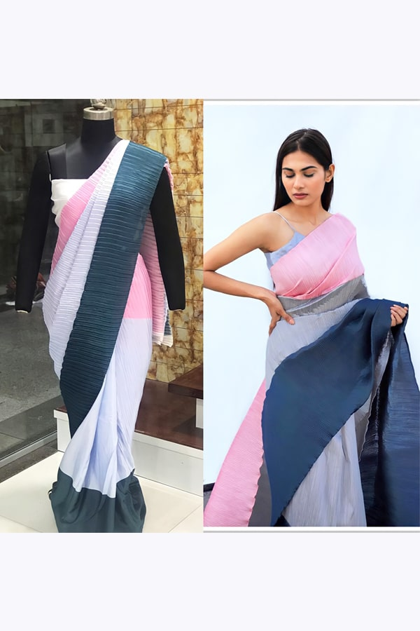 fashionable party wear saree for unmarried girl