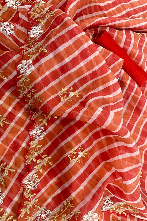 Party wear saree for married girl orange