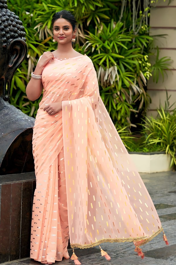 Party wear saree for unmarried girl 2021 peach (2)