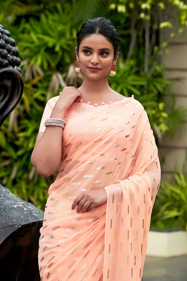 Party wear saree for unmarried girl 2021 peach