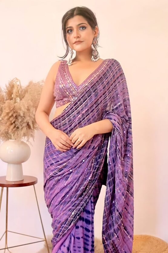 Party wear saree for unmarried girl Purple 2021