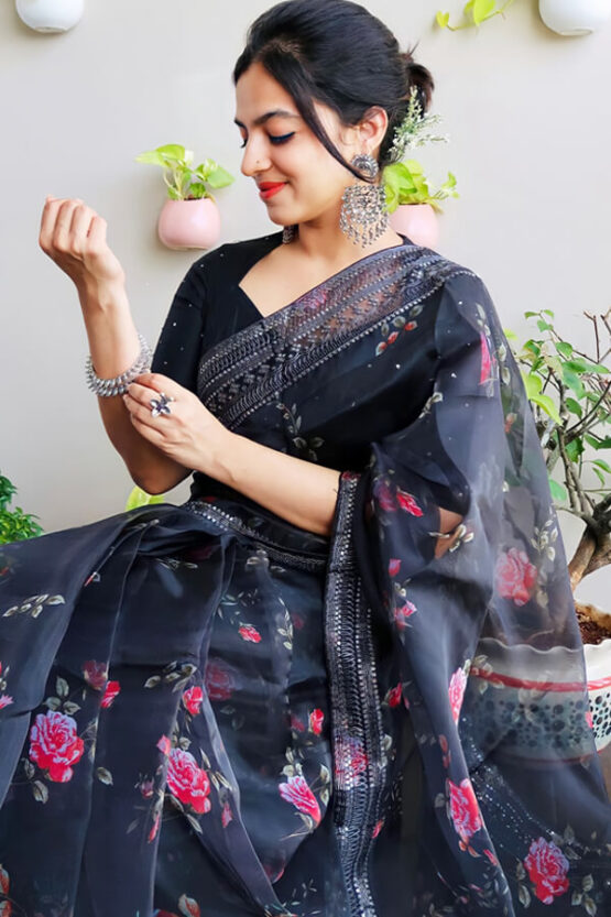 Party wear saree for unmarried girl Black 2021 (2)