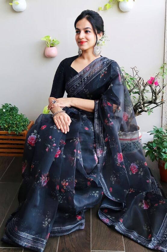 Party wear saree for unmarried girl Black 2021.