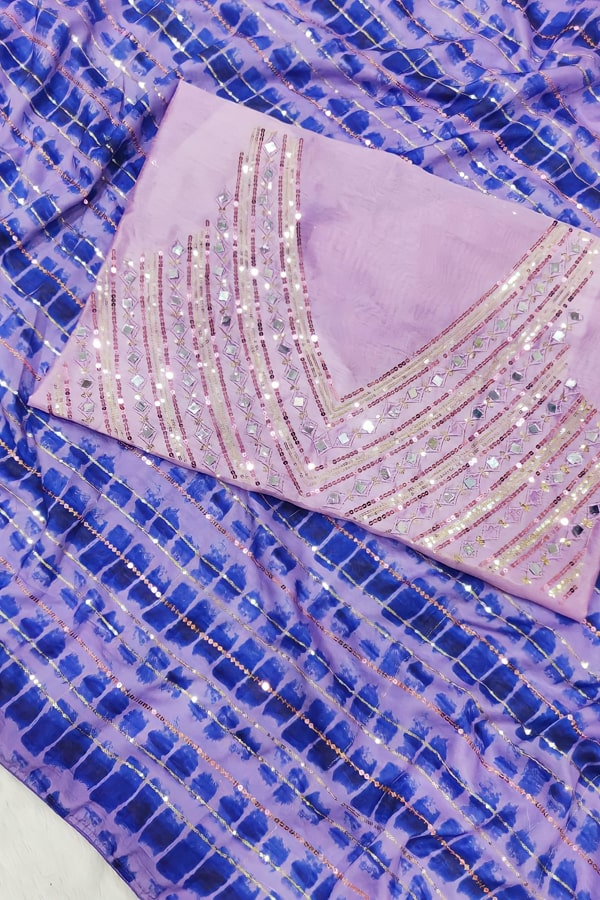 Party wear saree for unmarried girl purple.