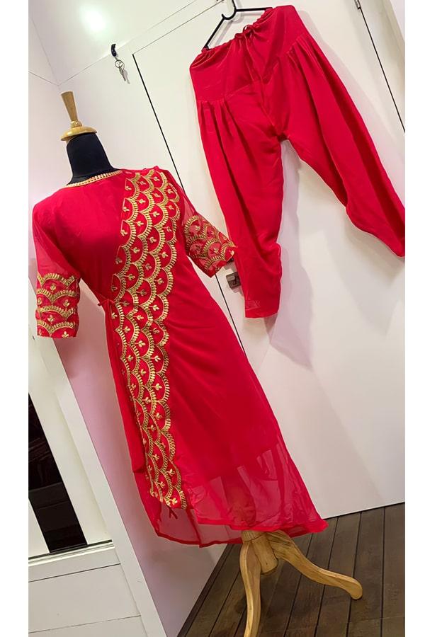 Patiala Red punjabi suit