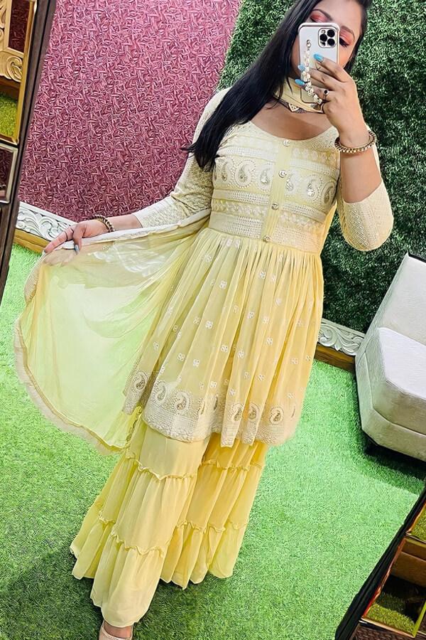 Punjabi Sharara suit design 2021 pinterest yellow