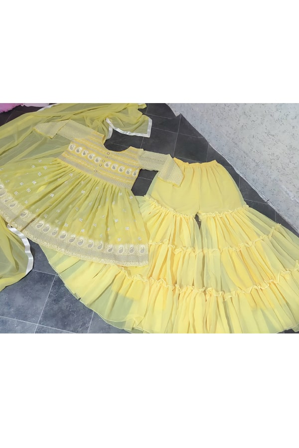 Punjabi Sharara suit design 2021 yellow