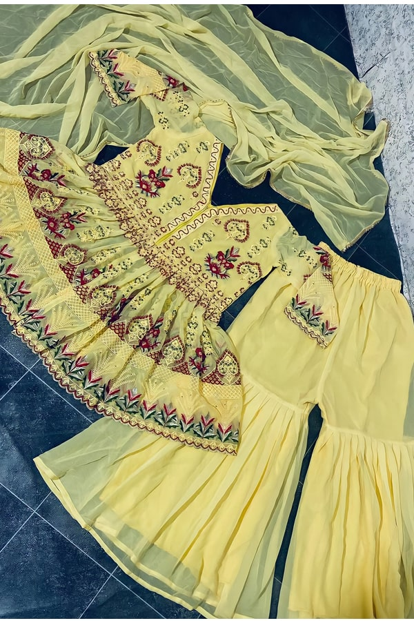 Punjabi Sharara suit design yellow