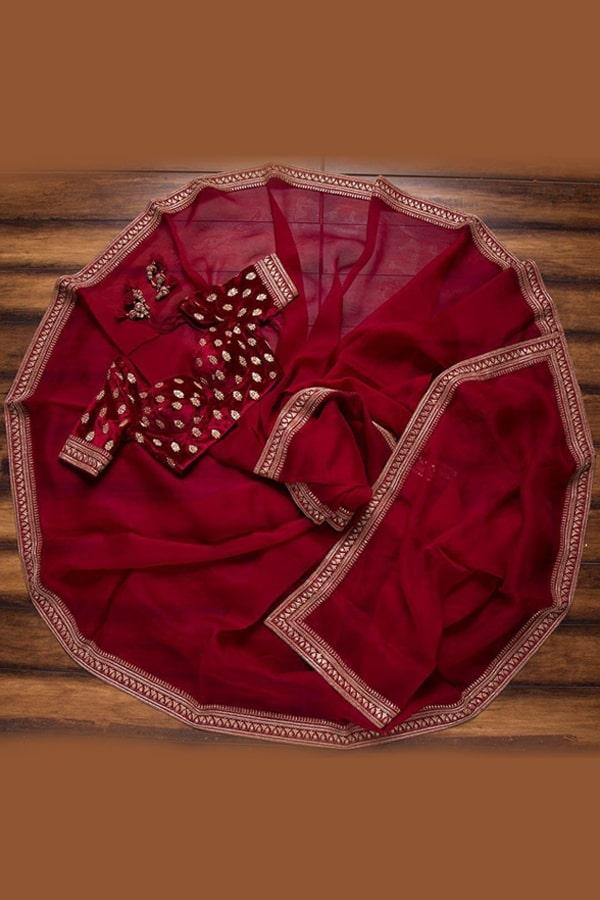 red wedding saree with golden border