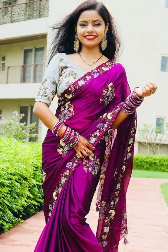 Saraswati puja saree look purple latest