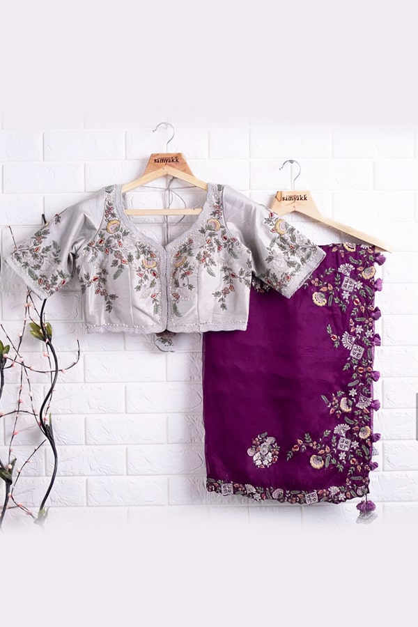 Saraswati puja saree look purple