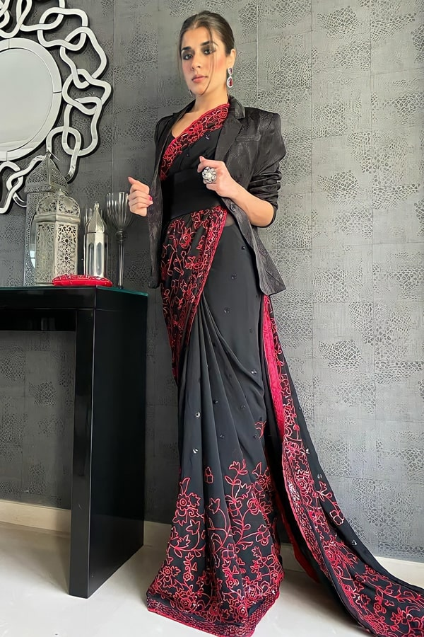 Saree look for wedding party for girl Fancy
