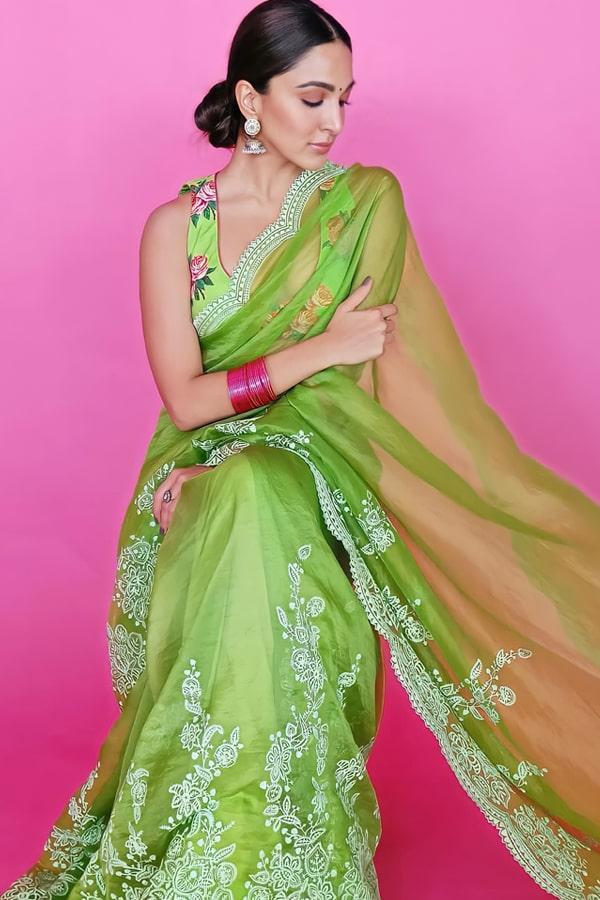 Shershaah promotion Kiara advani green saree