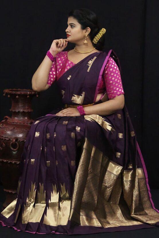 Soft kesari silk sarees for Wedding