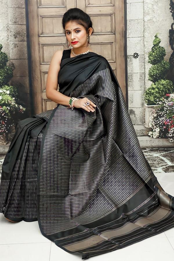 Soft silk kanchipuram silk sarees for wedding black