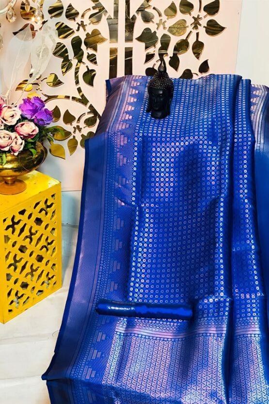 South indian silk sarees for wedding blue