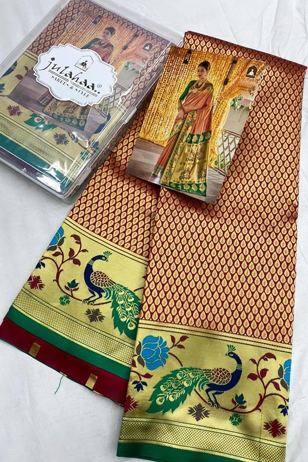 engagement saree look maharashtrian