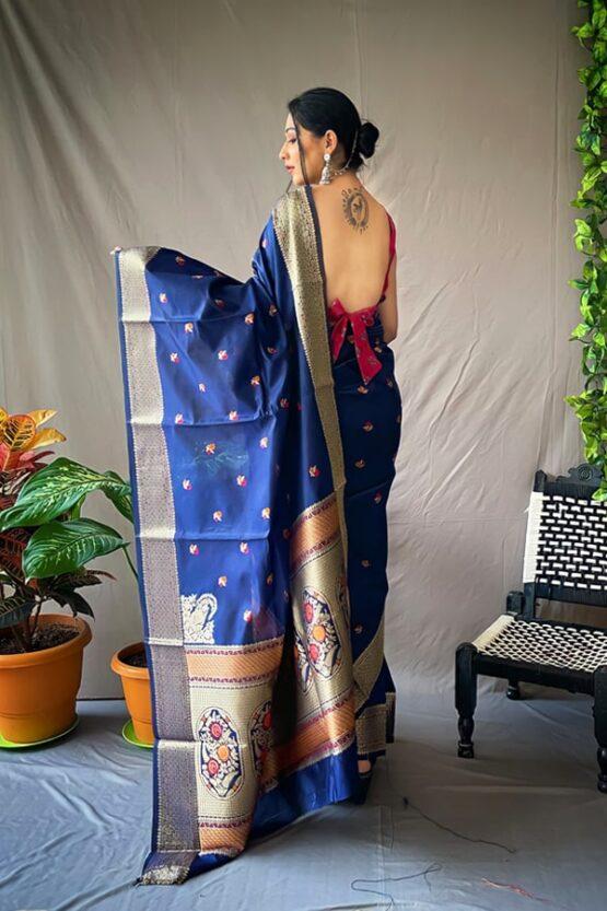 marathi wedding paithani saree blue.